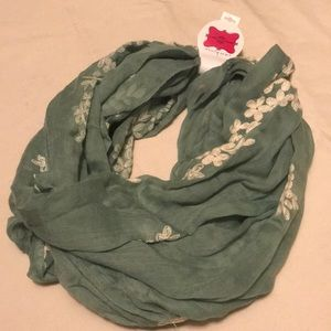 NWT sage green w/embroidery infinity scarf